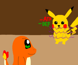 Charmander tickles Pikachu