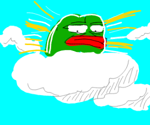 Pepe the frog as a cloud god