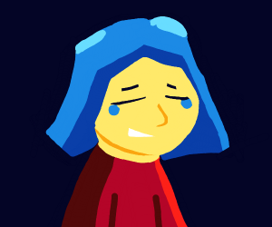 Blue Haired Girl Cries While Smiling