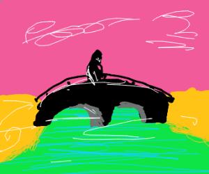 bridge over a neon lake