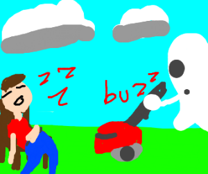 A ghost mows the lawn for sleeping man