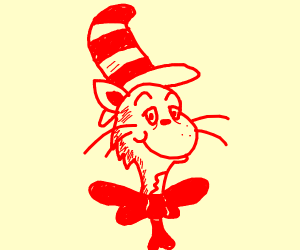 The Cat in the Hat is completely entirely red
