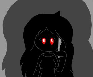 Literally black girl w/ red eyes & knife
