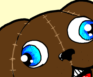 Brown fabric dog with blue eye