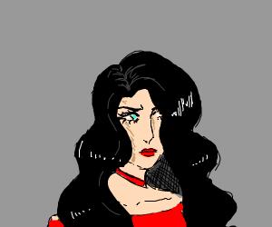 Lady with quite voluminous, dark hair