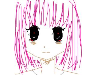 Creepy girl with pink hair