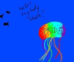 gay jellyfish looking for fish