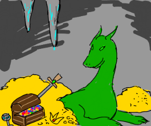 Dragon surrounded by treasure