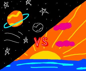 space vs sunset