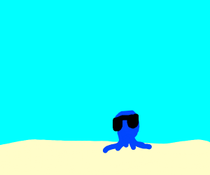 blue head with sunglases on a beach