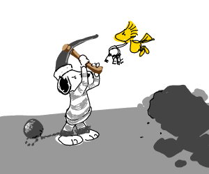 Snoopy Tries to Escape box as Bird Taunts him