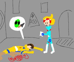 An alien stabbed him