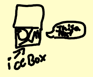 Person in a ice box with a text next to it