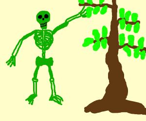 green skelston picks leaf of tree said this f