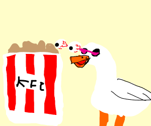 A duck and a bucket of KFC