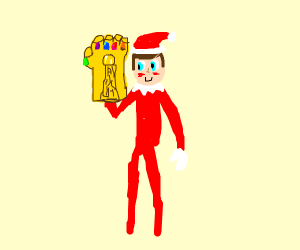 Elf on the Shelf with the Infinity Gauntlet