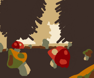 illuminati forest (trees and mushrooms)
