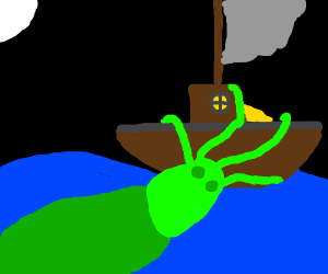 Ship gets attacked by kraken in the night