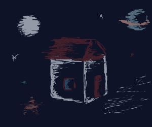 House floating in space