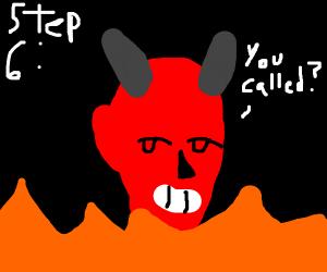 step 5: light the pentegram on fire