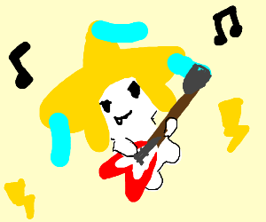 Jirachi playing the guitar