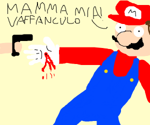 Mario.. gets shot in the hand(?)