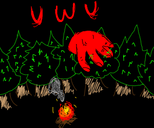 Large UwU looms over forest