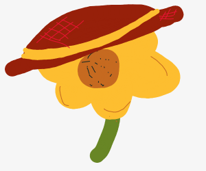 Sad sunflower wearing a sunhat