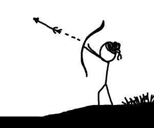 Lady with hairbun firing an arrow