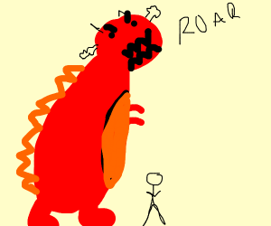 Angry red dinosaur
