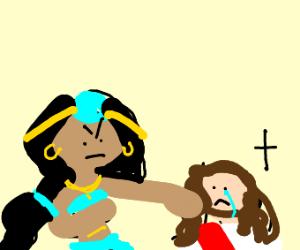 Princess Jasmine assaults Jesus