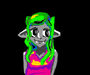 Slightly Creepy Girl With Green hair