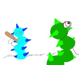 Green caterpillar is a pitcher in baseball