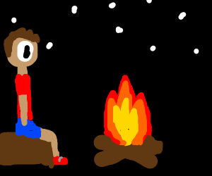 Person in front of a camp bonfire