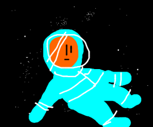 orange faced astronaut