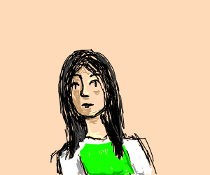 Dark haired girl wears green and white shirt
