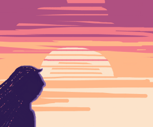 Woman gazing at the sunset