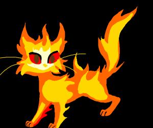sad fire cat