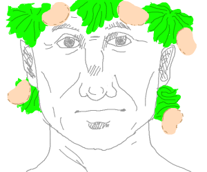 Caesar with potato chips and lettuce as hair