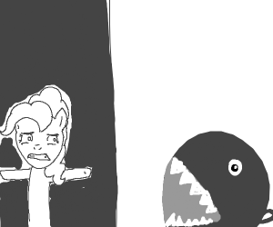 pinky hides from a chain chomp