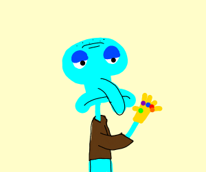 Squidward got the infinity thanos thing