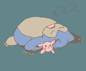 Snorlax fell asleep on pikachu