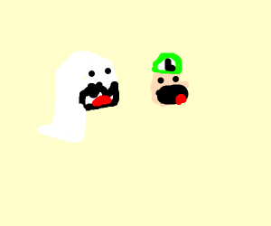 Luigi Gets Spooked By Boo