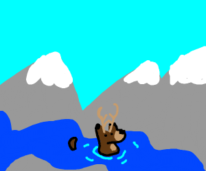 deer in river by mountains
