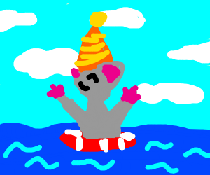 Party hat'd mouse swimming in ocean