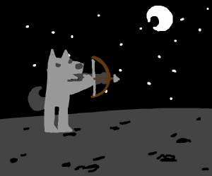wolf using bow and arrow at night time