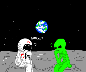Cosmonaut and Alien wondering