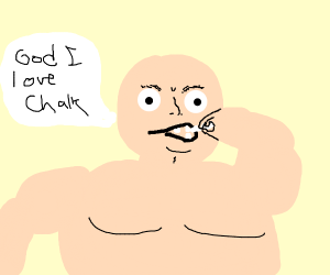 MAn eating chalk