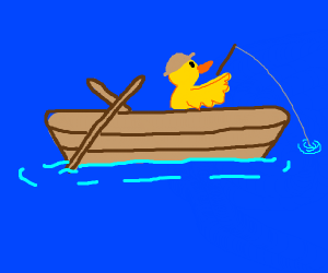 A duck fishing at the lake