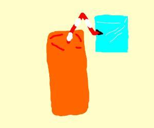 Ice-cool cube drinking orange juice